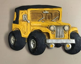 Mid Century Jeep Wall Hanging