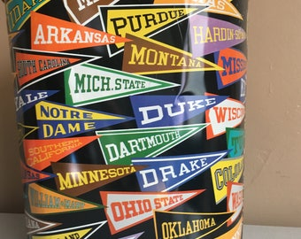 Vintage College NCAA Metal Trash Can