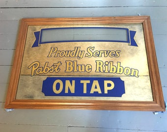 Big Vtg Personalized Pabst Bar Mirror