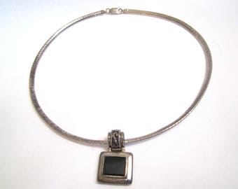 Mid Century Modern Sterling Silver Necklace and Pendant with Onyx