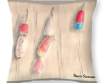 Buoys at Rest Watercolor print on Decorative Throw Pillow 16 x 16 / 20 x 20