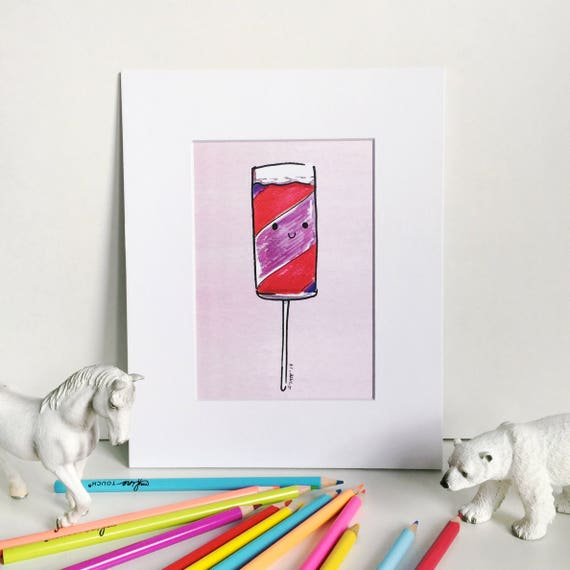 Push-up Popsicle Print on Pink, Silly Food Art