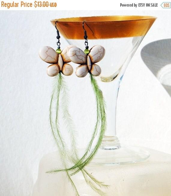 ON SALE Long Feather Earrings - Butterfly Feather Earrings - Howlite Butterfly in Cream Green Feathers - Boho Earrings - Upcycled Jewelry -