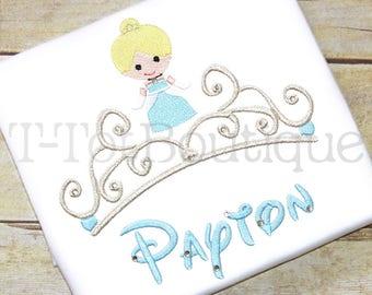 Cinderella Crown Tiara Princess Inspired Monogram Embroidered Shirt or Bodysuit -with Bling Rhinestones - Free Personalization