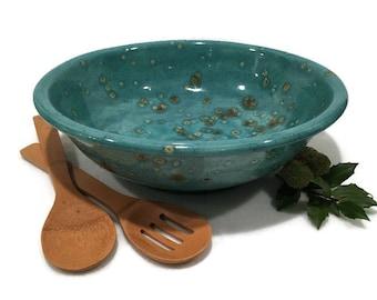 Large Serving Bowl in Teal and Brown - Ceramic