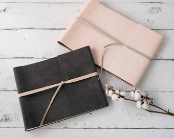 Blush Leather Album- Modern Wrap Style in Blush or Gray Natural Leather