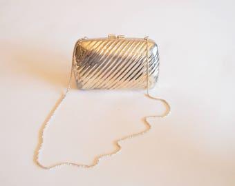 Vintage 1960s silver METAL clutch purse