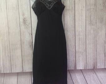 Vintage Black Perfect Fitting Slip Nightie Night Gown by Lorraine Ladies 32