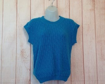 Vintage 80s Teal Knitted Crewneck Sweater Vest Ladies Small