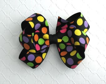 Girls ~ Toddlers Halloween Hair Bow, Pinwheel Polka Dot Hair Bow