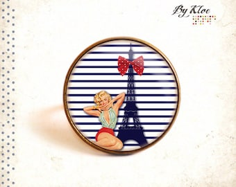 Ring Cabochon striped • Paris • Eiffel pinup sea boat Red White Navy blue bow