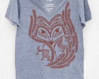 Unique Hand Screen Printed Graphic V-neck T-shirt - Feeling Foxy