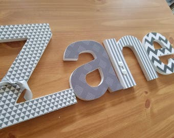 Wood Letters, Modern Baby Boy Nursery, Grey and White, Geometric, Tribal Aztec, Chevron and Stripe, Wooden Kids Decor