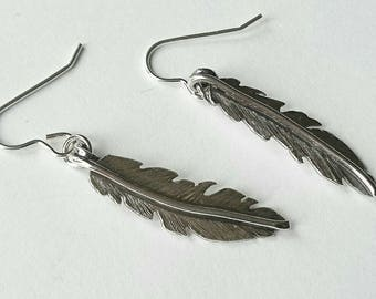 Sterling silver oxidised hand pierced feather earrings, hallmarked in Edinburgh
