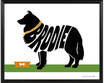 Personalized Collie Silhouette Print, New Puppy Gift, Framed Collie Wall Art