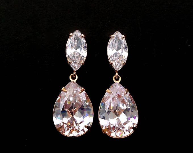 bridal earrings jewelry bridesmaid gift wedding prom Clear white teardrop AAA cubic zirconia on marquise cz post rose gold earrings