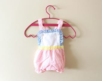 vintage onesie jumper 70's baby girls childrens clothing pastel gingham ruffle 1970's size 3-6 months mos