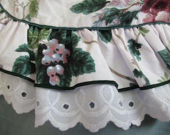 Waverly 100% cotton full flat sheet - double, floral, pink, green, white eyelet ruffle