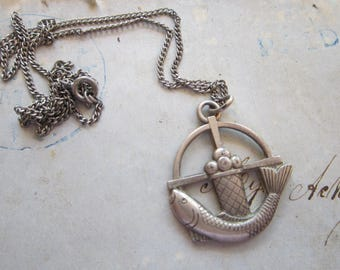 vintage CREED STERLING pendant necklace - fish and bread loaves, religious pendant