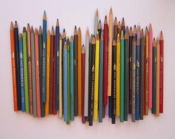 53 vintage colored pencils - EAGLE PRISMACOLOR pencils - used