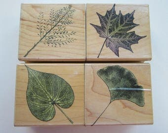 4 rubber stamps - HERO ARTS Poetic Prints LEAVES - circa 2001