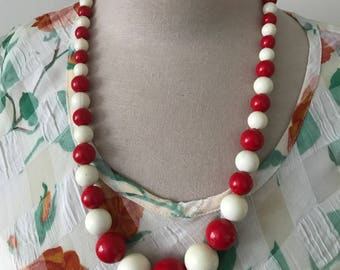 Vintage Red and White Beaded Necklace  Holiday Jewelry Party Jewelry New Years Gifts Under 20 Gifts For Her Statement Jewelry Festive