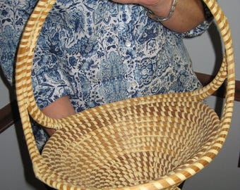 Signed Vintage Gullah Sweetgrass basket- ornate with tag-Margaret Jefferson-sale
