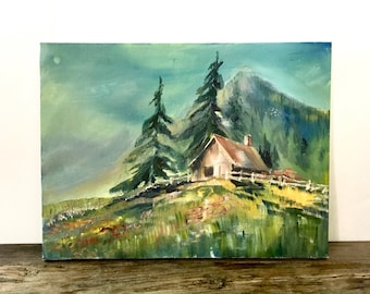 Original Oil Painting on canvas / Cabin and a mountain scene