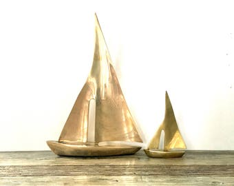 Brass Sailboat pair / Sailboat figurines / Nautical Decor Coastal Cottage Beach Decor
