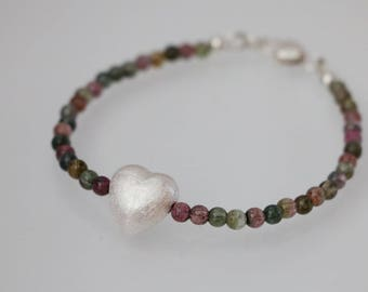 Multi color Tourmalines Sterling Silver Heart Bracelet, Tourmaline Bracelet, Multi-color Bracelet, October Birthstone, Tourmaline Jewelry