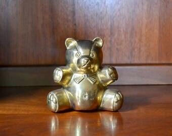 vintage brass teddy bear figurine / brass bear / nursery decor / vintage baby shower gift