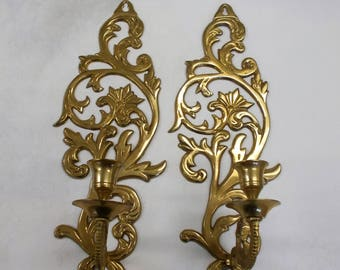 Brass Wall Candle Sconces Scroll Leaf Lacquered Pair