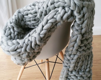 DIY Knit Kit. Extremely Chunky Blanket. Merino Wool