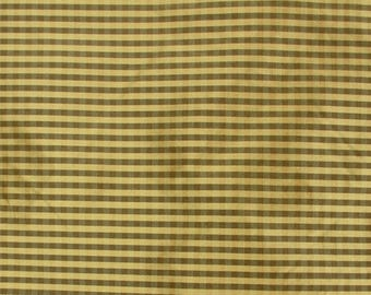 Brown Gold Silk Check Fabric