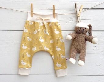 Bunny Baby Pants, Organic Baby Leggings, Baby Girl Pants, Rabbit Baby Pants, Baby Harem Pants, Easter Baby Pants