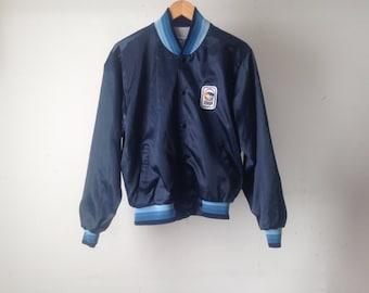 vintage MEN'S 80s nylon color block PAINTERS jacket coat striped collar vintage size medium