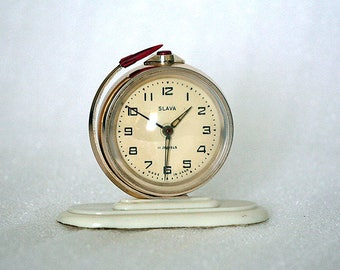 Vintage Alarm Clock - Slava - Working - Globe - Soviet Space Program - 1970s - from Russia / Soviet Union / USSR