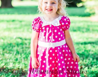 Little Girl Classic Twirly Dress with Bow , Polka Dot Dress with Bow, size 12 months, Ready to Ship