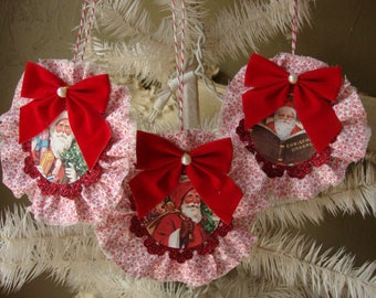 christmas ornaments victorian santa fabric ornaments red and white vintage christmas home decor glitter ornaments Cottage Chic