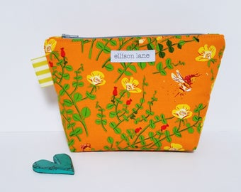 Orange Honey Bee Floral Zippy, Cosmetic Bag, Zipper Pouch, Gifts for Girls, Pretty Pouch, Gift for knitters