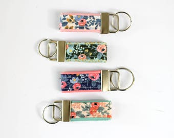 rifle paper co keychain gift set, mini key fob, rosa keychain, floral keychain, stocking stuffer, teacher gift, womens key fob, friend gift