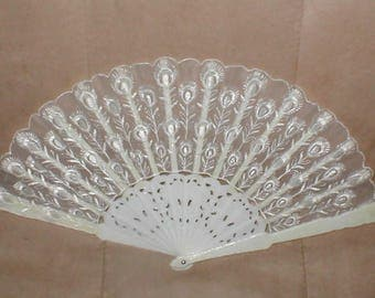 Vintage Folding Fan with Ivory color Embroidery