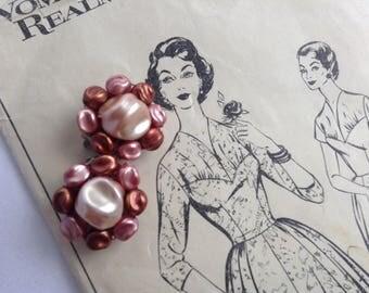 Vintage Clip On Earrings, 1950s, Rockabilly