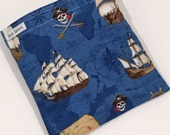 Reusable Sandwich And Or Snack Bag Pirates Cove Snack Sandwich Sack Ships Skulls