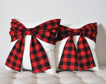 Decorative Pillows Throw Pillows Decorative Throw Pillows Red Throw Pillow Christmas Pillows Holiday Pillow Holiday Decor Plaid Bow Pillow