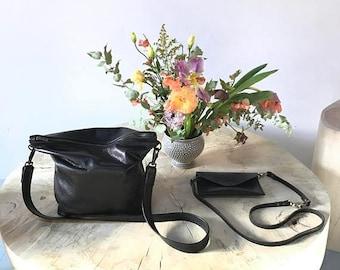 summer sale black leather clutch. large leather clutch. hobo bag. black leather travel tote - cross body clutch - messenger bag