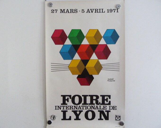 Hervé Morvan Poster Foires Internationale Lyon France 1971 Original French Poster