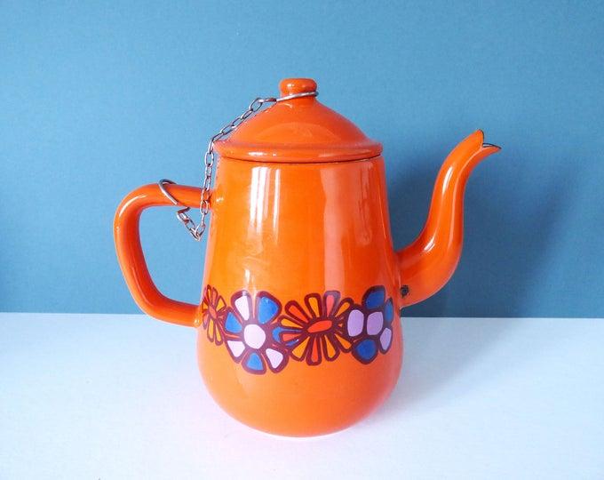 Vintage orange enamel teapot