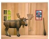 FALL SALE Funny Canadian moose art print: Cabin Fever