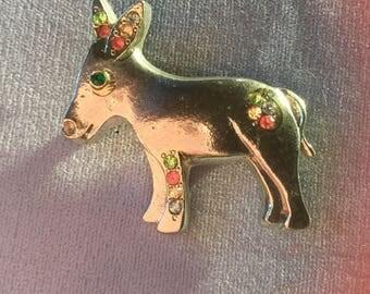 Silver tone Donkey pin with Rhinestones